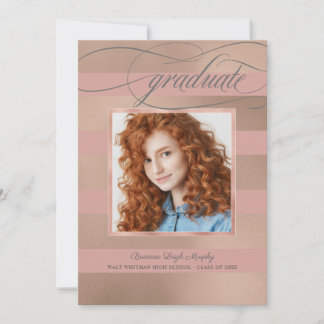 Champagne Rose Gold Stripes with Photo Graduate