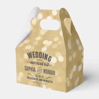 Champagne und graue Hochzeits-Überlebensausrüstung Geschenkkarton