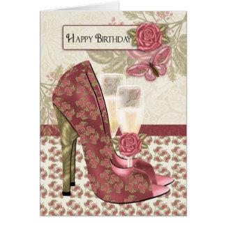Champagne und Schuhe Schmetterling und Karte