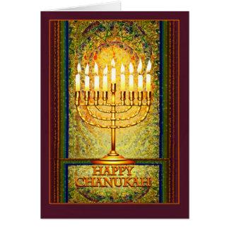 Chanukah Lichter, Menorah im Buntglas-Fenster Grußkarte
