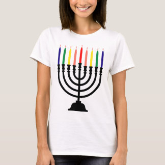 Chanukah Regenbogen Menorah T-Shirt