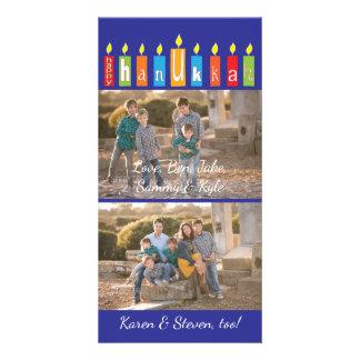 """Chanukka-Foto-Karte mit weißem Umschlag """"Kerzen """" Individuelle Photo Karte"""