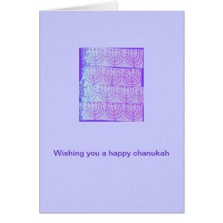 Chanukka-Karte mit lila Menorahs Karte