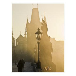 Charles-Brücken-Morgen-Nebel Prag Postkarte