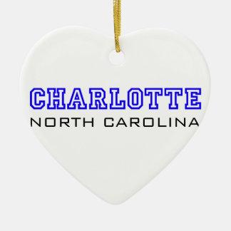 Charlotte, NC - Buchstaben Keramik Herz-Ornament