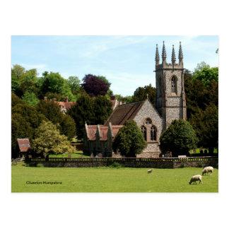 Chawton Hampshire - Schaf neben Kirche Postkarte