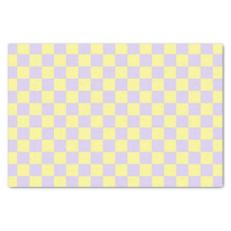 Checkered weiches Gelbes und lila Seidenpapier
