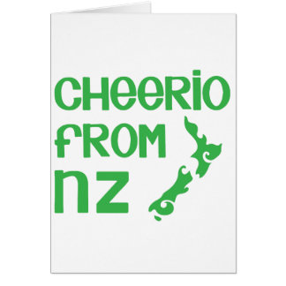 Cheerio von NZ mit Neuseeland-Karte Karte