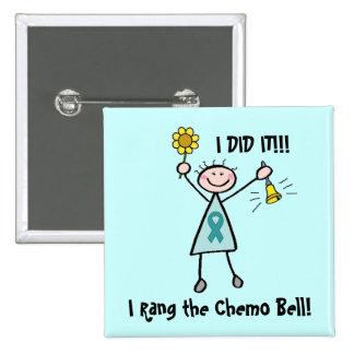 Chemo Bell - Gebärmutterkrebs Quadratischer Button 5,1 Cm