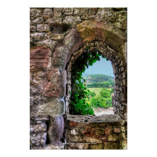 Chepstow Schloss-Fenster, Monmouthshire, Wales Poster