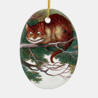 Cheshire-Katze 2 Ovales Keramik Ornament