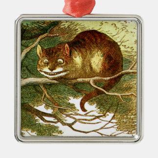 Cheshire-Katze 2 Silbernes Ornament