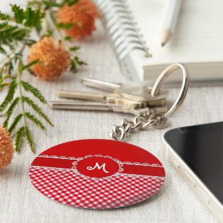Chex Monogramm rotes KEYCHAIN Schlüsselanhänger