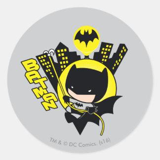 Chibi Batman, der die Stadt einstuft Runder Aufkleber