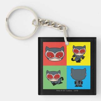 Chibi Catwoman-Charakter-Posen Beidseitiger Quadratischer Acryl Schlüsselanhänger