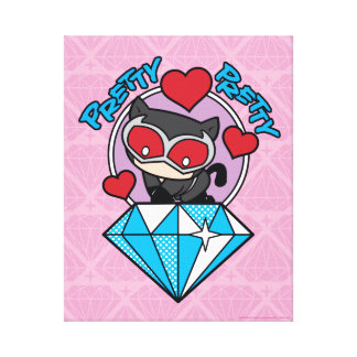 Chibi Catwoman, der auf großem Diamanten sitzt Leinwanddruck