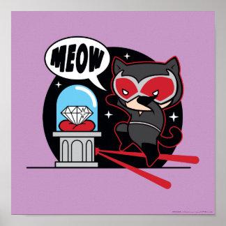 Chibi Catwoman, der einen Diamanten stiehlt Poster