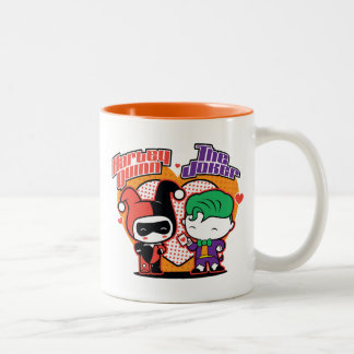 Chibi Harley Quinn u. Chibi Joker-Herzen Zweifarbige Tasse
