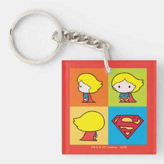 Chibi Supergirl Charakter-Rücklauf Beidseitiger Quadratischer Acryl Schlüsselanhänger
