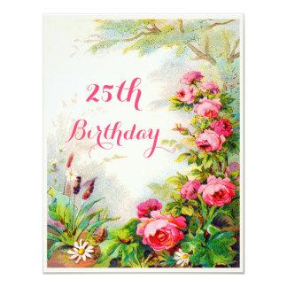 Chic-25. Geburtstags-viktorianischer 10,8 X 14 Cm Einladungskarte