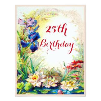 Chic-25. Geburtstags-Wasserlilien und Iris-Blumen 10,8 X 14 Cm Einladungskarte