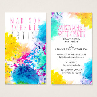 Chic blauer gelber rosa abstrakter visitenkarte