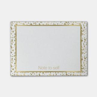 Chic-Gold und weißer Tierdruck personalisiert Post-it Klebezettel