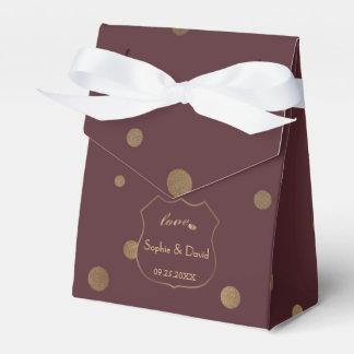 Chic-Goldconfetti-Liebe-Burgunder-Hochzeit Geschenkschachtel