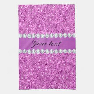 Chic-lila Imitat-Sequins und Diamanten Handtuch