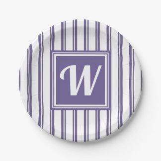 Chic-modernes Monogramm-violettes Streifen-Party Pappteller