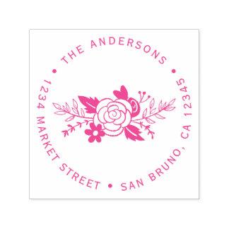 Chic-pinkfarbene Rosen-runde Permastempel