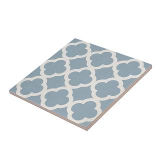 Chic Quatrefoil Muster im Blau auf Leinwand-Blick Kleine Quadratische Fliese