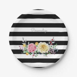Chic-Rosen-Trendy schwarze mit Blumenstreifen und Pappteller