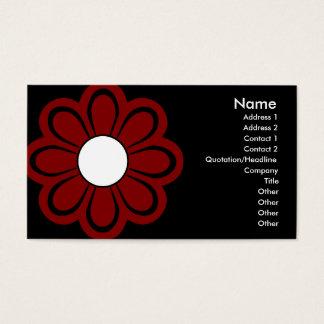 Chic-rote Blume auf schwarzer Geschäfts-Karte Visitenkarten