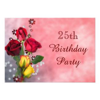 Chic-rote u. gelbe Rosen-25. Geburtstag Individuelle Einladung