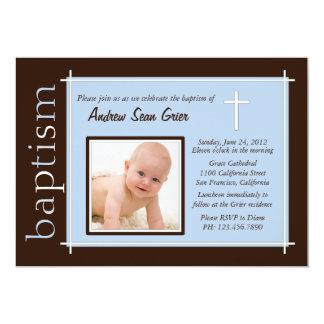 Chic-Taufe-Foto laden ein [Blau] 12,7 X 17,8 Cm Einladungskarte