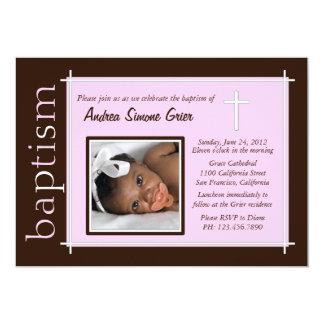 Chic-Taufe-Foto laden ein [Rosa] 12,7 X 17,8 Cm Einladungskarte