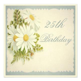 Chic-Vintage Gänseblümchen-25. Geburtstag Individuelle Einladung