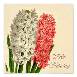 Chic-Vintage Hyazinthen-25. Geburtstag Einladungen