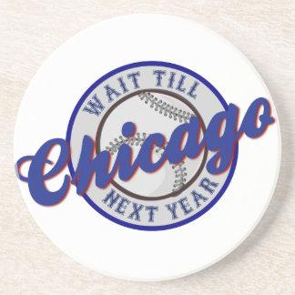 Chicago-Baseball-Sportlogo-Wartezeit bebauen Getränkeuntersetzer