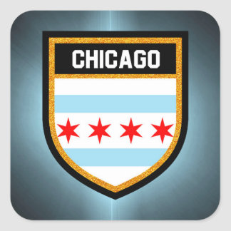 Chicago-Flagge Quadratischer Aufkleber