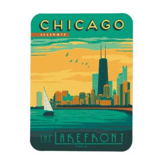 Chicago, IL - genießen Sie die Seeseite Eckiger Magnet