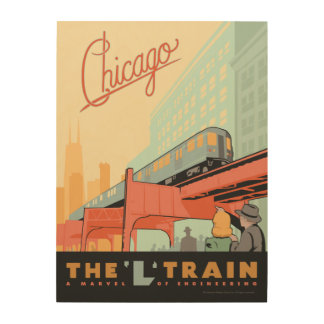 "Chicago, IL - ""L"" Zug Holzdruck"