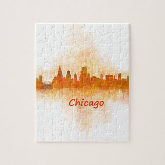 chicago Illinois Cityscape Skyline Dark Puzzle