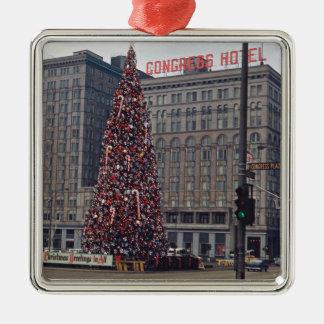 Chicago-Kongress-Hotel-Weihnachtsbaum-Foto 1963 Silbernes Ornament