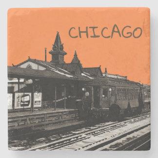 Chicago L Aquarellsepia-Fotografie-Untergrundbahn Steinuntersetzer