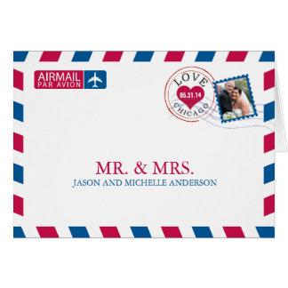 Chicago-Luftpost-Hochzeit danken Ihnen Mitteilungskarte