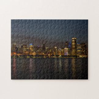 Chicago-NachtStadtbild Puzzle
