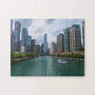 Chicago River und Trumpf-Turm Puzzle