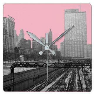 Chicago-Schienen-Yard-Michigan-Alleensechziger Quadratische Wanduhr